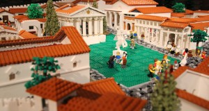 A scene from the LEGO Pompeii model depicting the city's forum