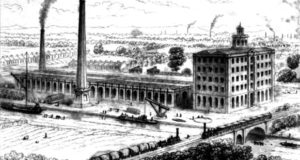 The UK's Bridgewater Foundry, pictured in 1839, one of the earliest factories to use an almost modern layout, workflow, and material-handling system. Photo: public domain.